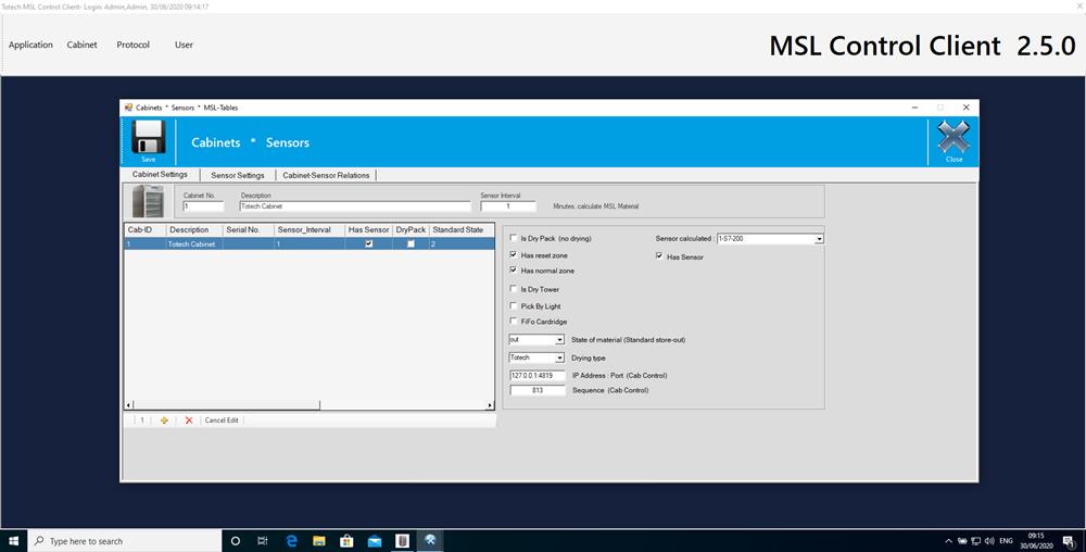 MSL 2.5 software cabinet monitoring