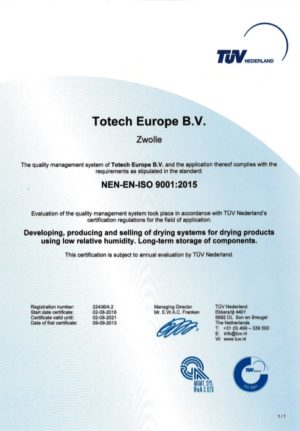 Totech ISO 9001:2015 certification